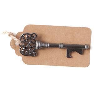 50-Vintage-Key-Bottle-Openers-w-Tags-Twine-Charcoal-Gray-Antique-Skeleton-Keys