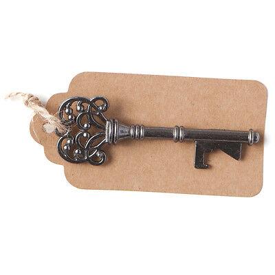 50 Vintage Key Bottle Openers w/ Tags Twine, Charcoal Gray Antique Skeleton Keys