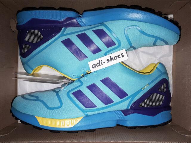 26c40b2233f32 adidas Originals ZX Flux Blue Navy Yellow Mens Running Shoes ...