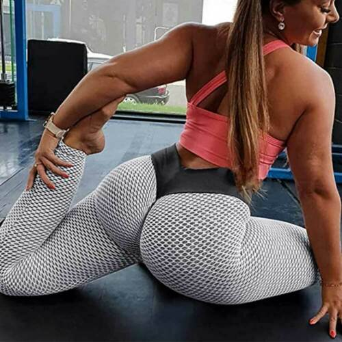 Women High Waist Yoga Pants Anti Cellulite Push Up Leggings Workout Trousers Gym