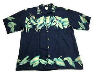 Tommy-Bahama-Hawaiian-Mens-Blue-Green-Floral-Mens-Button-Front-Silk-Shirt-Size-L