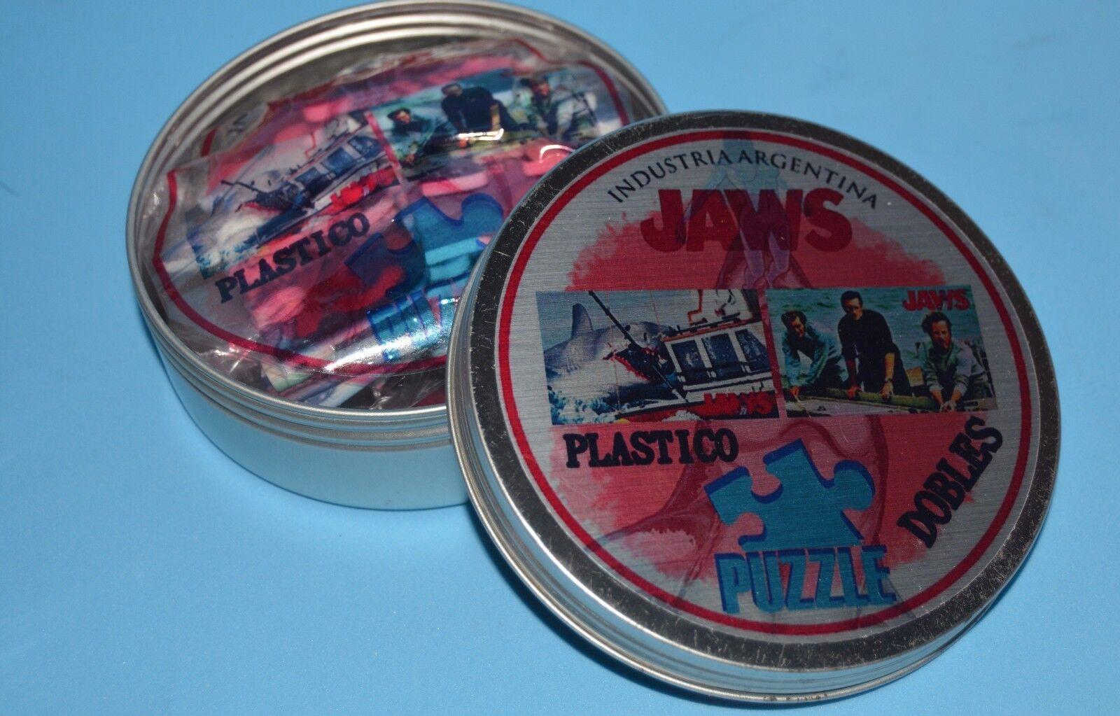 JAWS película Spielberg Doble Plástico Rompecabezas Cerrado Caja De Metal Coleccionable