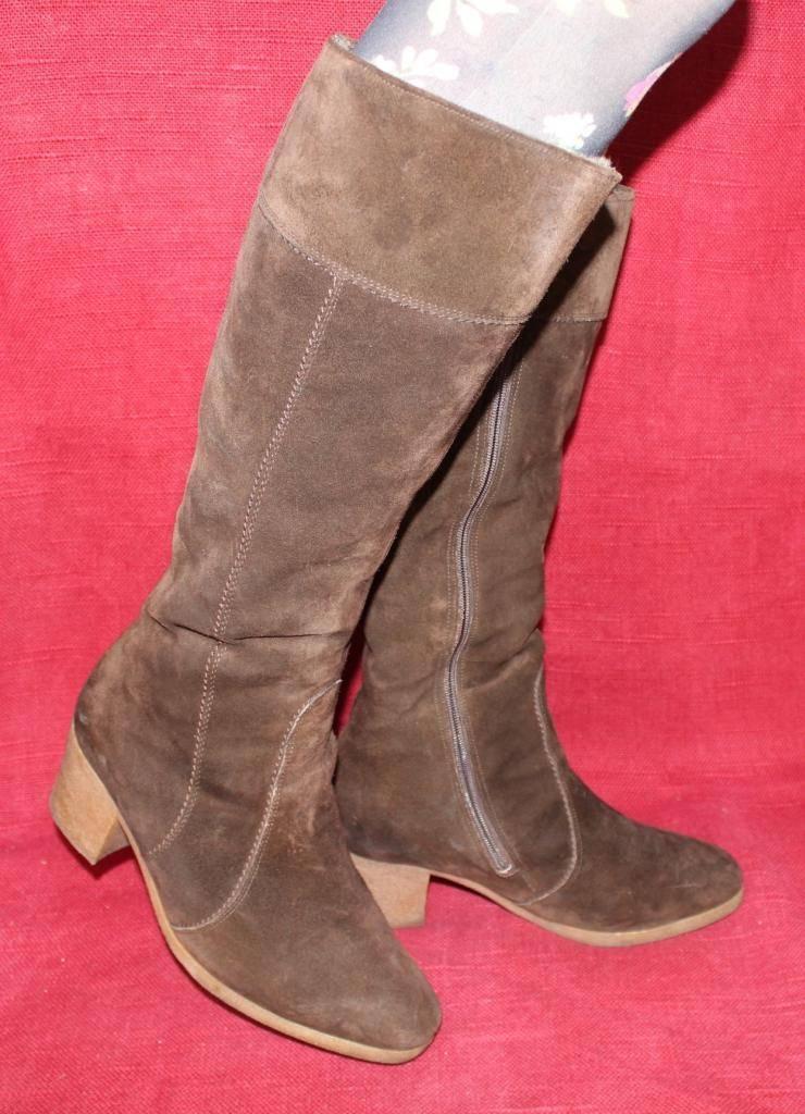 70er 70s de cuero vintage botas de invierno cálido Leather botas serraje 39 hippie VTG