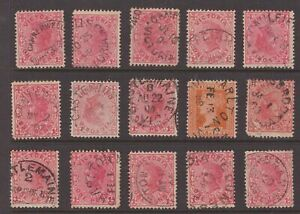 Victoria-postmark-selection-on-15-x-1d-red-QV-including-unframed