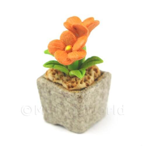 cfo11 Flor de cerámica de color naranja hecho a mano en miniatura
