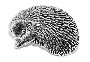 Hedgehog Pin Badge Pewter Brooch in gift a pouch