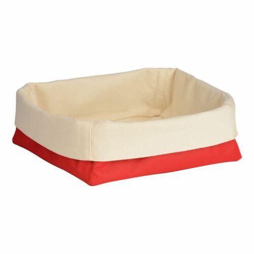 Polyester//Cotton Red//Cream Folded Design Bread Basket