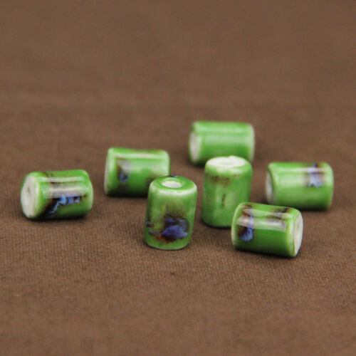 10pcs Charms Fleur Cylindre Céramique Loose Spacer porcelaine Beads Jewelry Making
