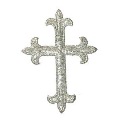 "12"" (305mm) Metallic Silver Cross Iron On Applique"