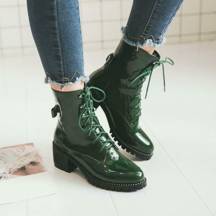 Womens Patent Leather Military Boots Chunky Heel Lace Up Ankle Boots 35-48  SYJJ