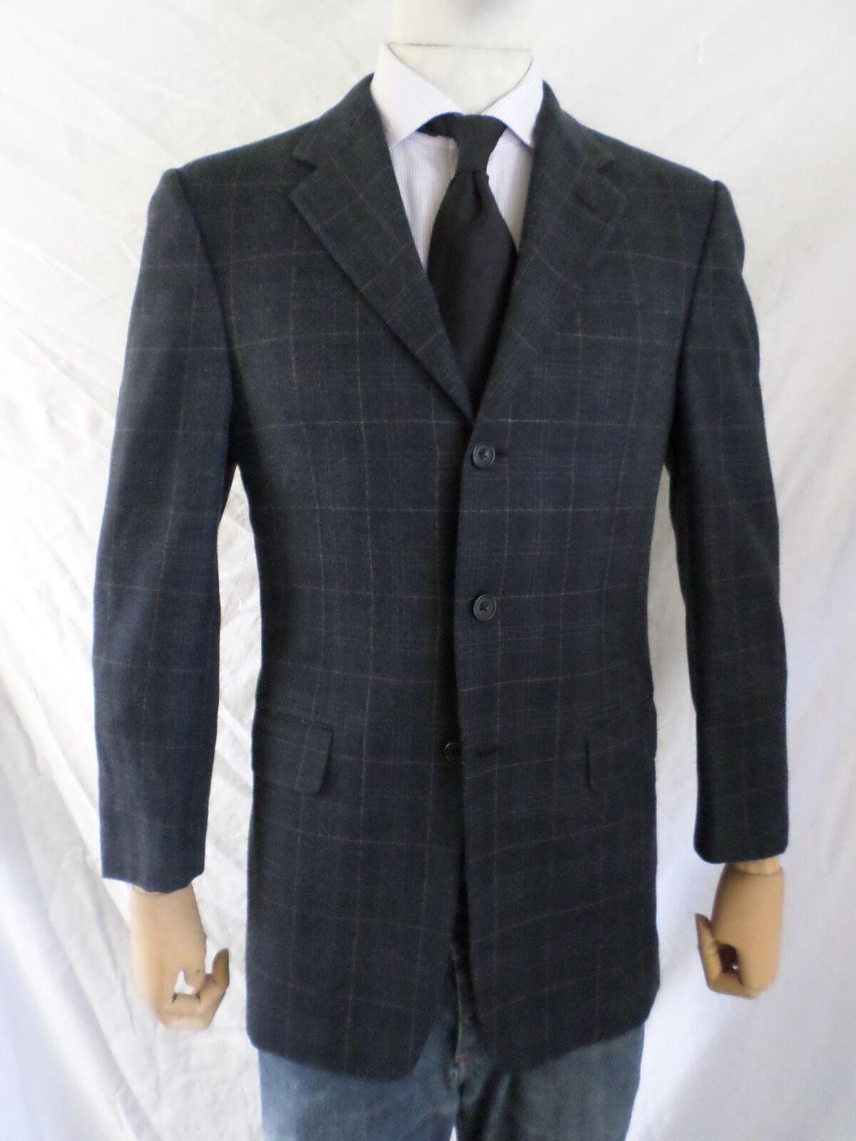 Hickey Freeman Madison Blau plaid wool silk blazer sport coat jacket 36R