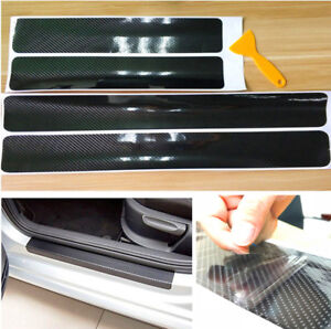 Black 5D Carbon Fiber Scuff Plate Door Sill Cover Panel Step Protector Guard