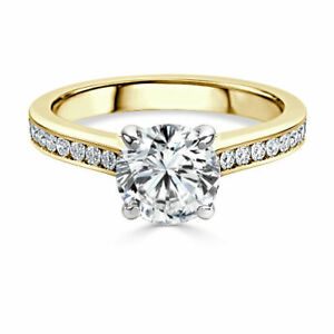 2.00 Ct Round Solitaire Moissanite Anniversary Ring 14K Solid Yellow Gold Size 8