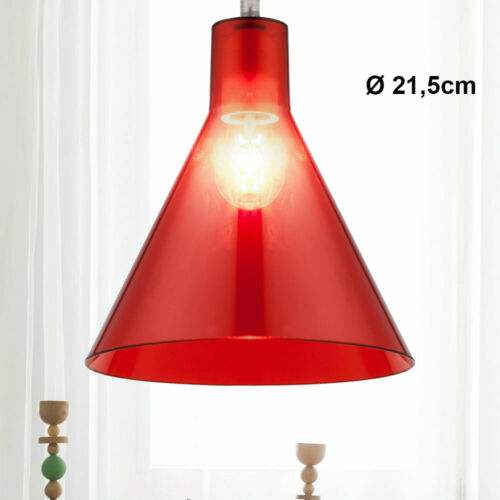 Design Decken Pendel Lampe Wohn Ess Zimmer Beleuchtung Schirm rot Hänge Leuchte