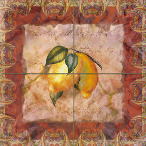 Art ceramic mural backsplash bath lemon decor tile 26 for Artwork on tile ceramic mural