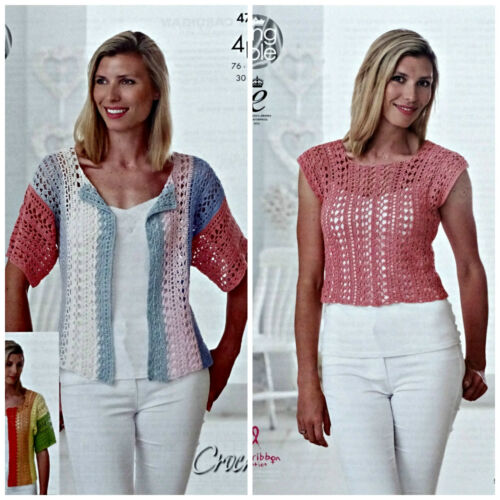 CROCHET PATTERN Ladies Lacy Cardigan /& Lacy Top Giza Cotton 4ply KingCole 4710