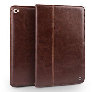 Qialino-Echt-Leder-Flip-Case-Smart-Cover-Schutzhuelle-fuer-Neu-iPad-9-7-2018-Braun