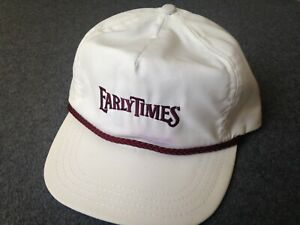 6bd308578 Details about Vtg 80s EARLY TIMES HAT strapback white kentucky bourbon  whiskey jacket trucker