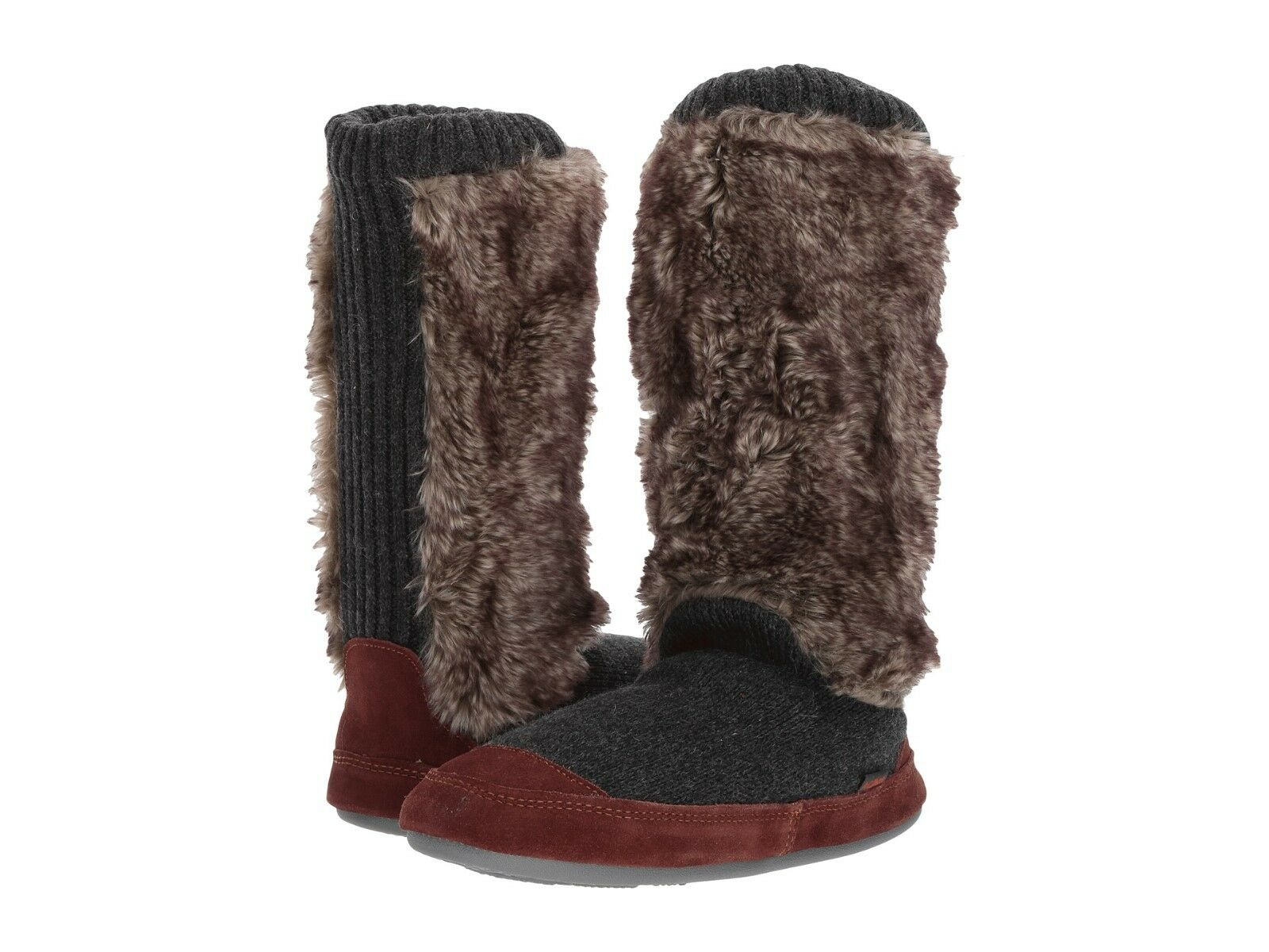 Acorn Slouch Boot Charcoal Fur Medium (M, B)