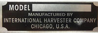 International Harvester Body Model Trim Number Plate Tag Part Owners Vin Number