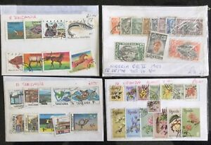 8 Sets of Africa Stamps Tanzania Uganda Nigeria Rhodesia Ghana Stamps