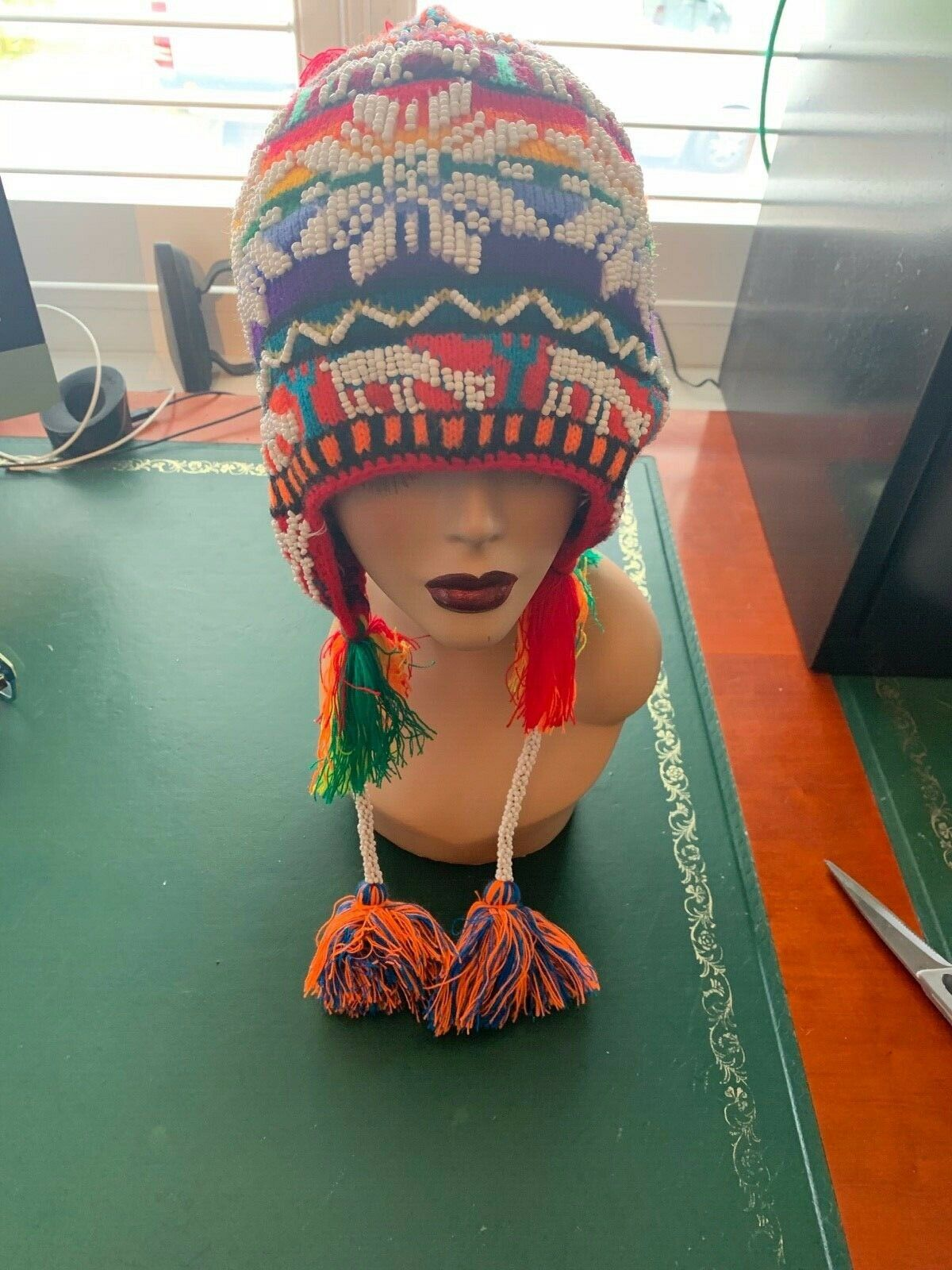 PERUVIAN CHULLO HAT WITH BEADS MULTICOLOURED RAVE FESTIVAL HAND MADE 02