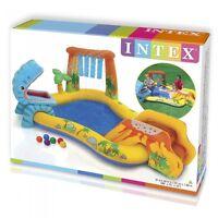 Childrens Swimming Paddling Pool Slide Intex Dinosaur Water Play Centre 57444