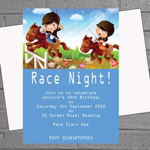 Personalised Cartoon Race Night Horse Racing Birthday Party Invites