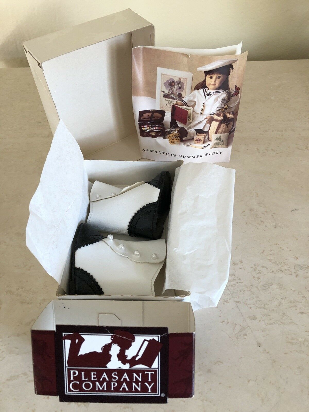 Pleasant Company American Girl SAMANTHA VICTORIAN Summer Story BOOT SHOES In BOX