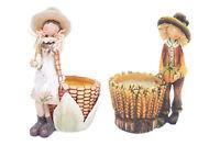 Fall Corn Girl Or Boy Planter Thanksgiving Figurine Autumn Harvest Decor