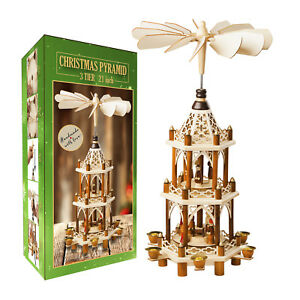 German Christmas Pyramid Wood Nativity Scene- 21in ...
