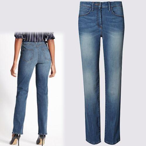 M&S scolpire LIFT & Gamba Dritta Mid Rise Jeans ~ 18 Corto ~ Mid Indaco (prezzo consigliato £ 35)