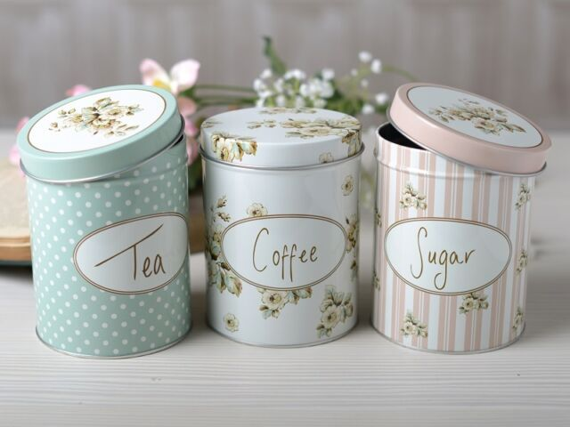 Set of 3 KATIE ALICE Cottage Flower SHABBY CHIC Storage Tins TEA Coffee SUGAR