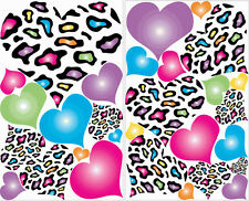 HEARTS LEOPARD RADIAL wall stickers 29 multicolored decals animal print decor