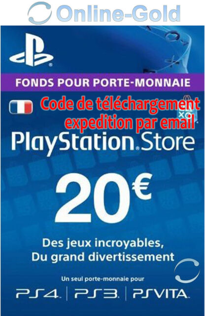 Compte français - Carte Playstation Network 20 EUR - €20 PSN Jeu PS3 PS4 PS Vita