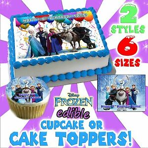 Disneys Frozen Birthday Cake topper Edible image sugar cupcake