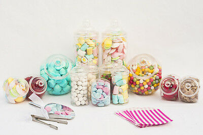 x10 Plastic Sweet Jars Large Kit 1 Tong 1 Scoop & 100 Bags Candy Buffet Wedding