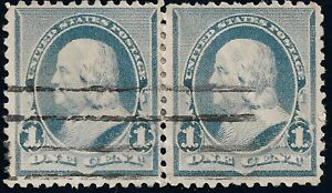 PAIR-Of-1890-EFO-FLAME-1-039-s-US-1-CENT-Blue-Ben-Franklin-Cancel-XF-STAMPS-219v