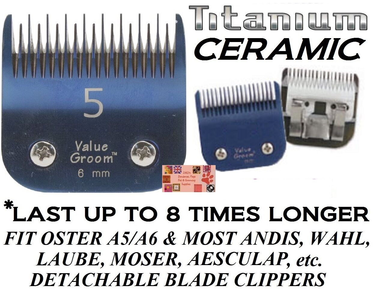 PRO TITANIUM CERAMIC 5 SKIP BLADEFitMany Oster,Andis,Wahl ClipperPet Grooming