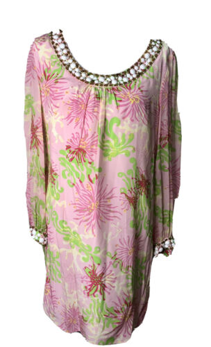 Lilly Pulitzer Tunic Caftan Dress Size 12 Beaded
