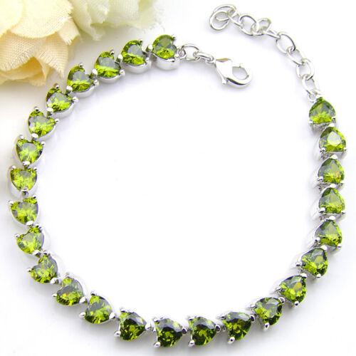 2018 nouvelle arrivée Handmade Jewelry Natural olive péridot pierres précieuses Bracelets Argent