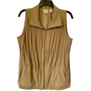 Zenergy-Chicos-Womens-Vest-Brown-Pin-Dot-Zip-Up-Stretch-Pockets-Jacket-M-8-NWOT
