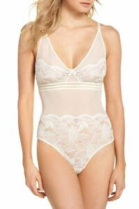 Calvin Klein Perfectly Fit Mesh And Lace Bodysuit QF4587 Ivory L NWT ... 1591892b7ee5
