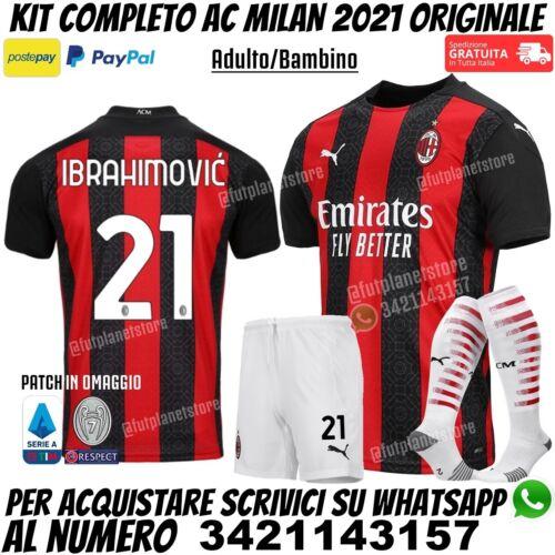 Sport e viaggi Maglia Completo Milan Nuova 2020 2021 Ibrahimovic ...