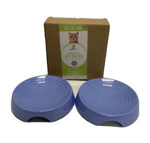 CatGuru Whisker Stress Free Cat Food Bowl, Reliefs Whisker Fatigue Open/NEW Blue