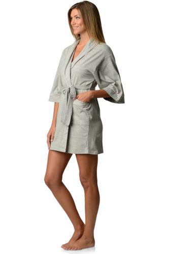 Casual Nights Womens Jersey Cotton Knit Bridesmaid Lounge Kimono Short Bath Robe