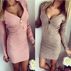 Damen V Strick Longpullover Minikleid Kleid Strickkleid Bodycon Pulli Longshirt