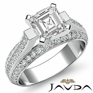 Elegante-Asscher-Diamante-Pave-Anillo-de-Compromiso-GIA-i-Color-VS2-14k-Oro
