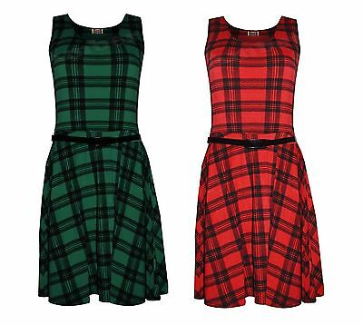 NEW LADIES RED GREEN BLACK TARTAN PRINT BELTED SLEEVELESS SKATER DRESS SIZE 8-14