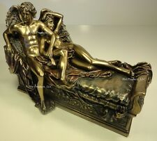 CUPID & PSYCHE ON BED Male Female Lovers Nude Statue Sculpture Bronze Color